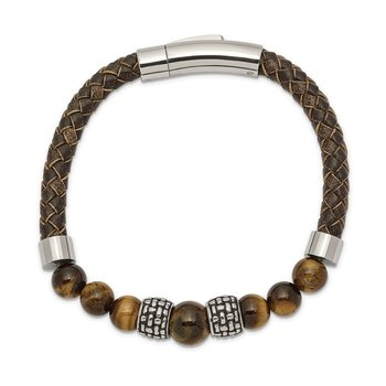 Stainless Steel Antiqued and Polished Tiger's Eye Leather 8.5in Bracelet
