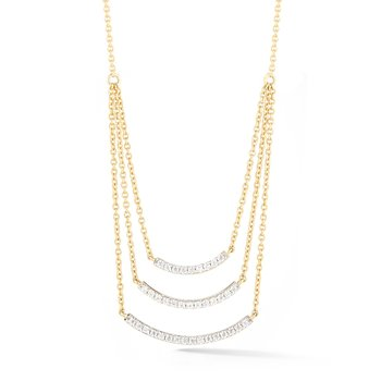 "Original triple bar necklace in 14k and  diamonds 0.42ct. 3/4"" wide by 0.8"" long"