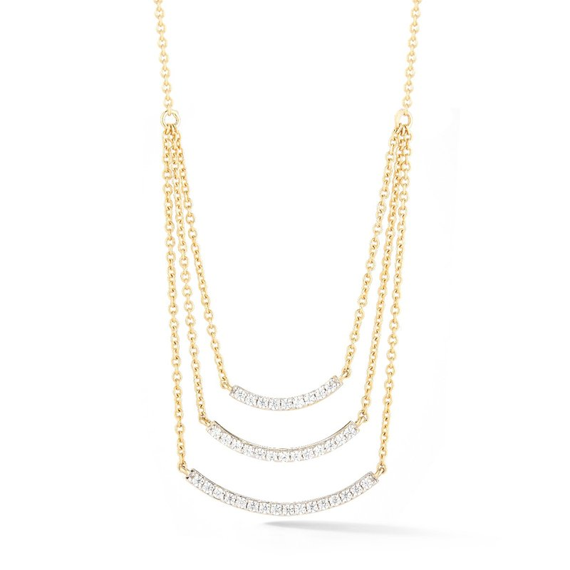 "Shula NY Original triple bar necklace in 14k and  diamonds 0.42ct. 3/4"" wide by 0.8"" long"