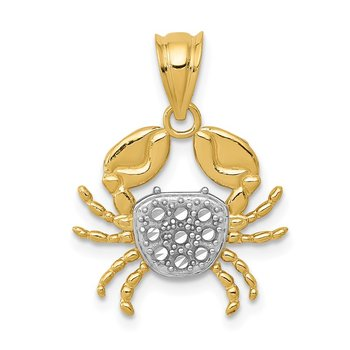 14K with Rhodium Diamond-Cut Crab Pendant