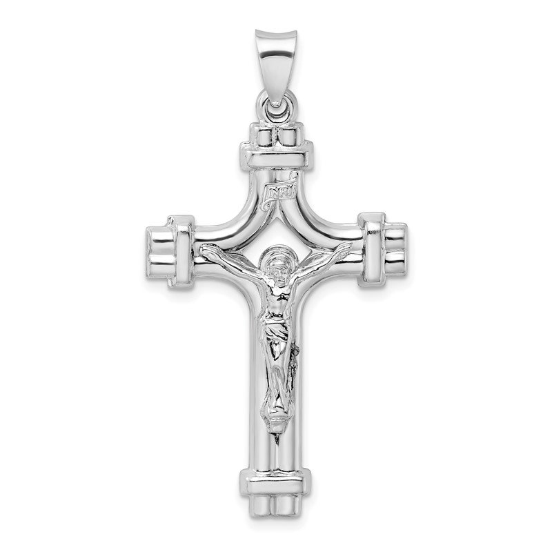 Quality Gold Sterling Silver Rhodium-plated Polished INRI Crucifix Pendant