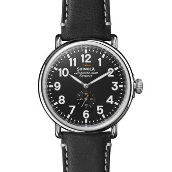 Runwell 47mm, Black Leather Strap