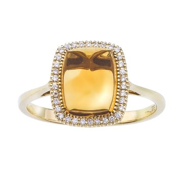 14k Yellow Gold Cushion Cut Citrine and Diamond Ring