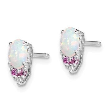 Sterling Silver Rhod-plate Dia. Cr.Pink Sapp, Simulated Opal Earrings