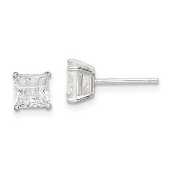 Sterling Silver 5mm Square Laser-cut CZ Basket Set Stud Earrings