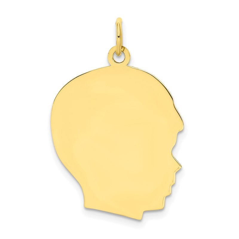 Quality Gold 10K Plain Large .013 Gauge Facing Right Engravable Boy Head Charm