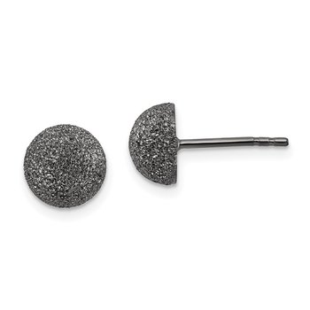 Sterling Silver Black Ruthenium 8mm Satin Finish Post Earrings