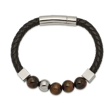 Stainless Steel Polished w/Tiger's Eye Beads Black Leather 8in Bracelet