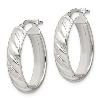 Sterling Silver Satin and Polished Twisted Oval Hoop Earrings