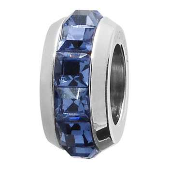 316L stainless steel and montana blue Swarovski® Elements crystals