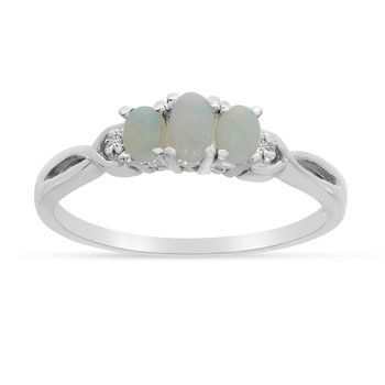 14k White Gold Oval Opal And Diamond Three Stone Ring