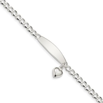 Sterling Silver Polished Curb Link ID Heart Dangle Bracelet