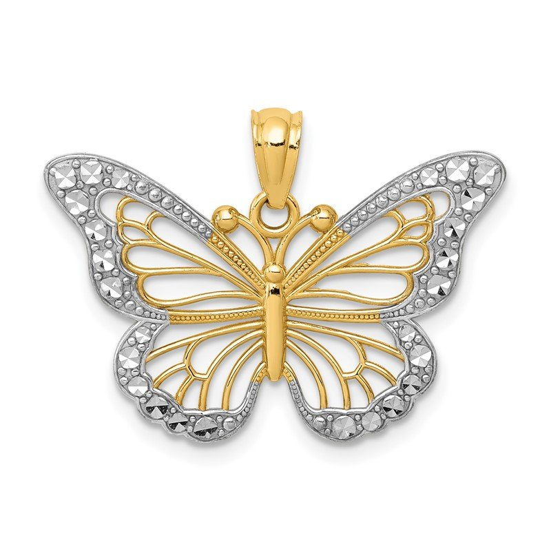 Quality Gold 14k w/ Rhodium Diamond-cut Polished Open Butterfly Pendant