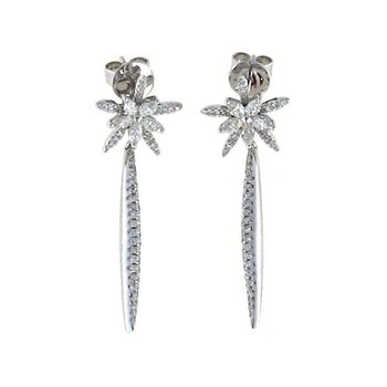 Star Drop Earrings With Diamonds