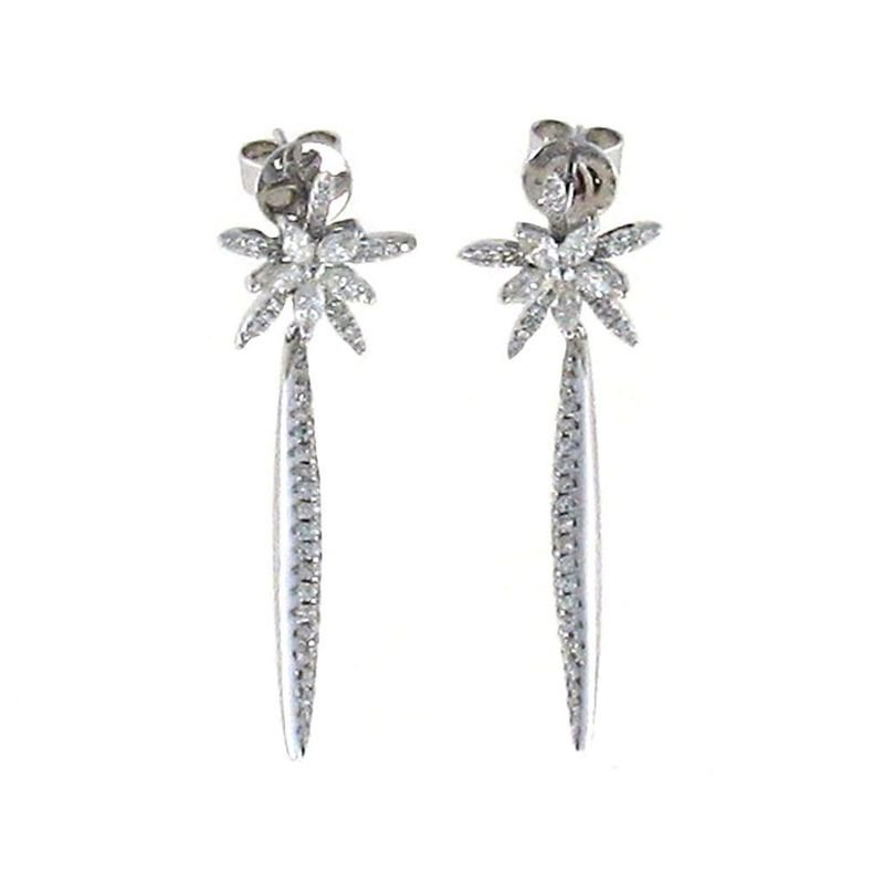 Roberto Coin 18Kt Gold Star Drop Earrings With Diamonds