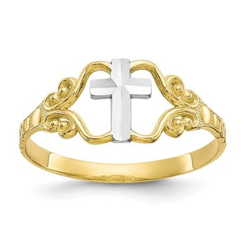 10k & Rhodium Polished Cross Ring
