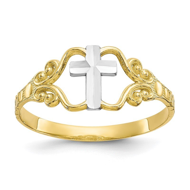 Quality Gold 10k & Rhodium Polished Cross Ring