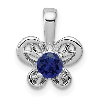 Sterling Silver Rhodium-plated Created Sapphire Pendant