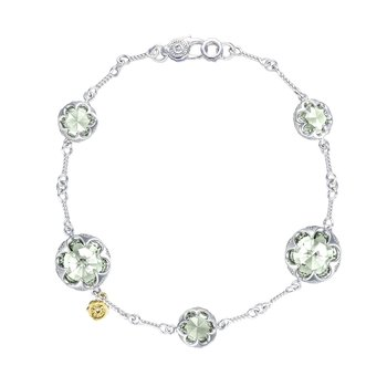 Multi Gem Chain Bracelet featuring Prasiolite