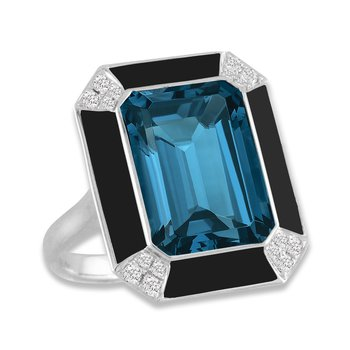 London Blue Topaz & Onyx Ring 18KW