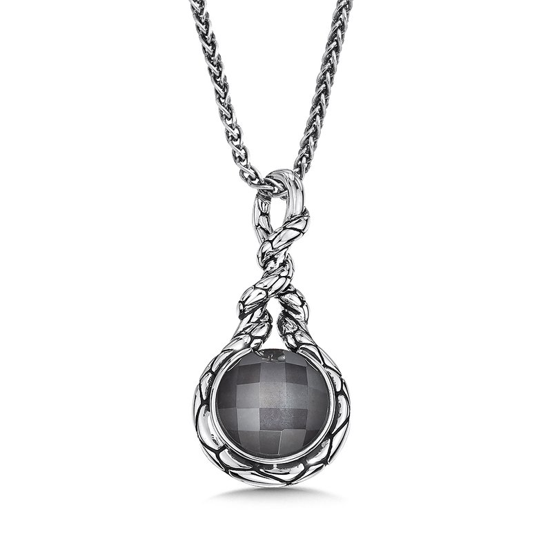 Sterling silver and hematite fusion pendant