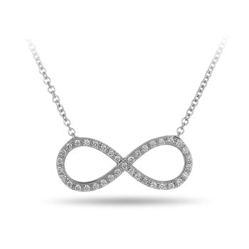 "14K WG Diamond Infinity Necklace Set with Sparkling White Prong Set Diamonds and comes with 18"" Cable Chain"