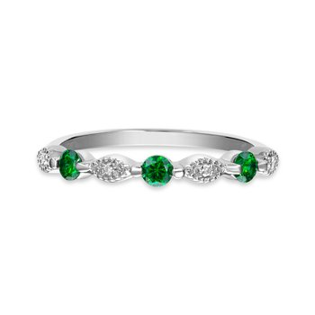 Sterling silver, synthetic emerald & diamond fashion band
