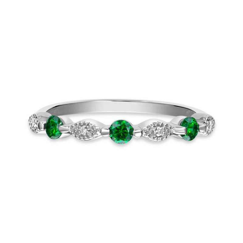 Victor Corp Sterling silver, synthetic emerald & diamond fashion band