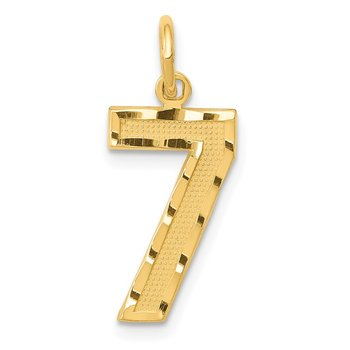 14ky Casted Medium Diamond Cut Number 7 Charm