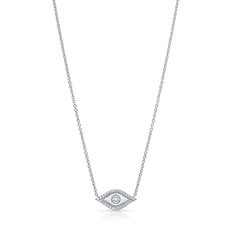 White Gold Piety Evil Eye Necklace