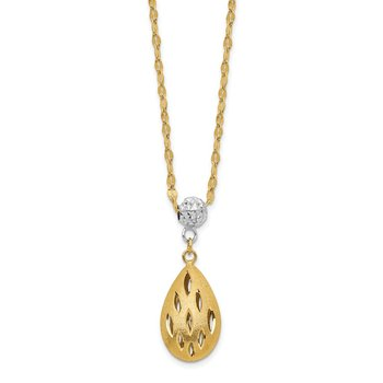 14k Two-Tone D/C Teardrop Dangle 2IN Ext Necklace