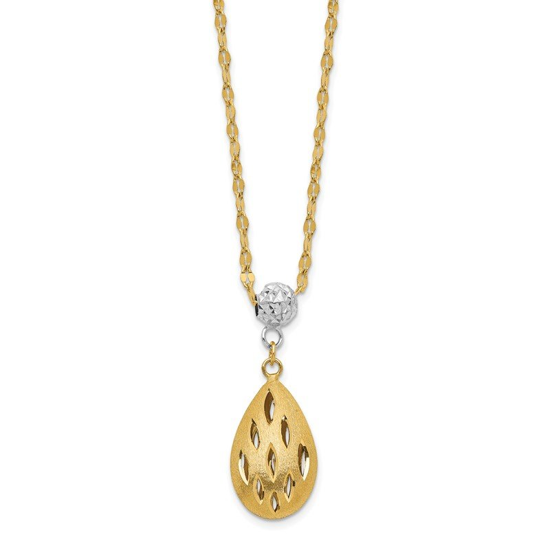 Quality Gold 14k Two-Tone D/C Teardrop Dangle 2IN Ext Necklace