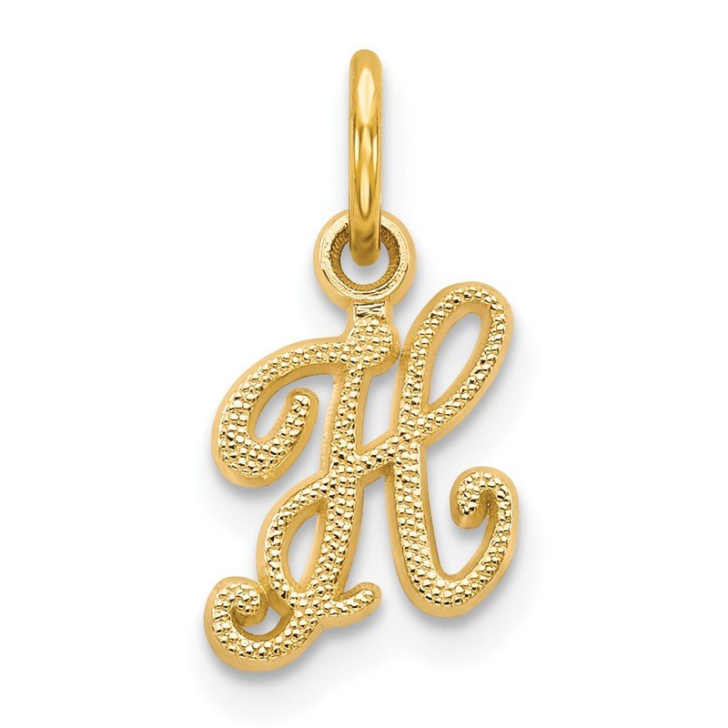 Quality Gold 14KY Script Letter H Initial Charm
