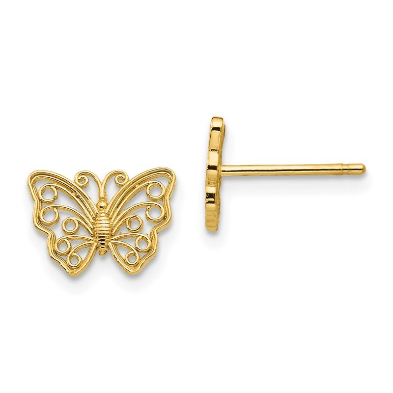 Quality Gold 14K Butterfly Post Earrings