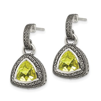 Sterling Silver w/ 14K Accent Lemon Quartz Dangle Earrings