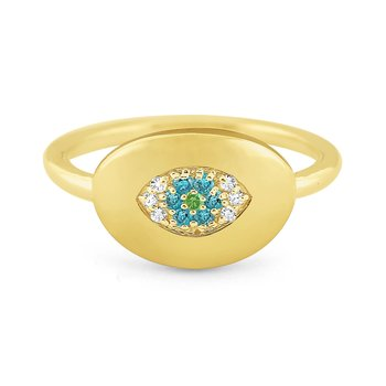 14k White, Green and Blue Diamond Signet Ring