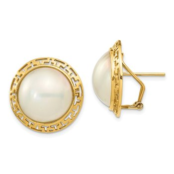 14k 14-15mm White Freshwater Cultured Mabe Pearl Omega Back Earrings