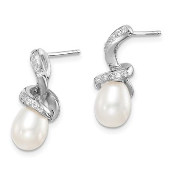 Sterling Silver Rhod-plat 6-7mm White Rice FWC Pearl CZ Earrings
