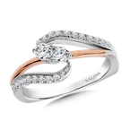 Valina Two-Stone Diamond Engagement Ring Moutning in 14K White/Rose Gold (.37 ct. tw.)