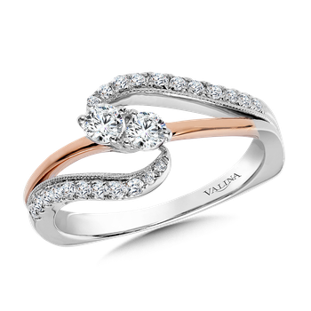 Two-Stone Diamond Engagement Ring Moutning in 14K White/Rose Gold (.37 ct. tw.)
