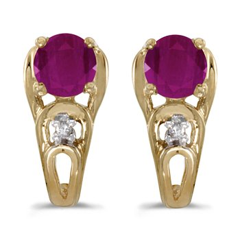14k Yellow Gold Round Ruby And Diamond Earrings