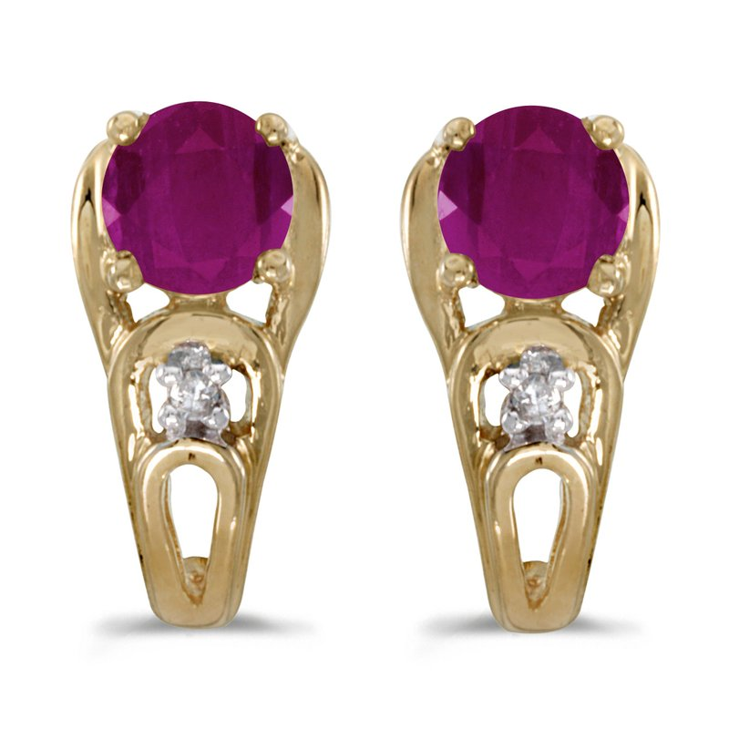 Color Merchants 14k Yellow Gold Round Ruby And Diamond Earrings