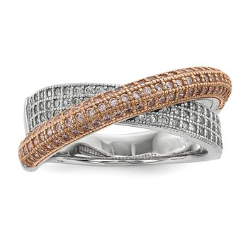 Sterling Silver Brilliant Embers Rose Gold-plated CZ Polished Ring