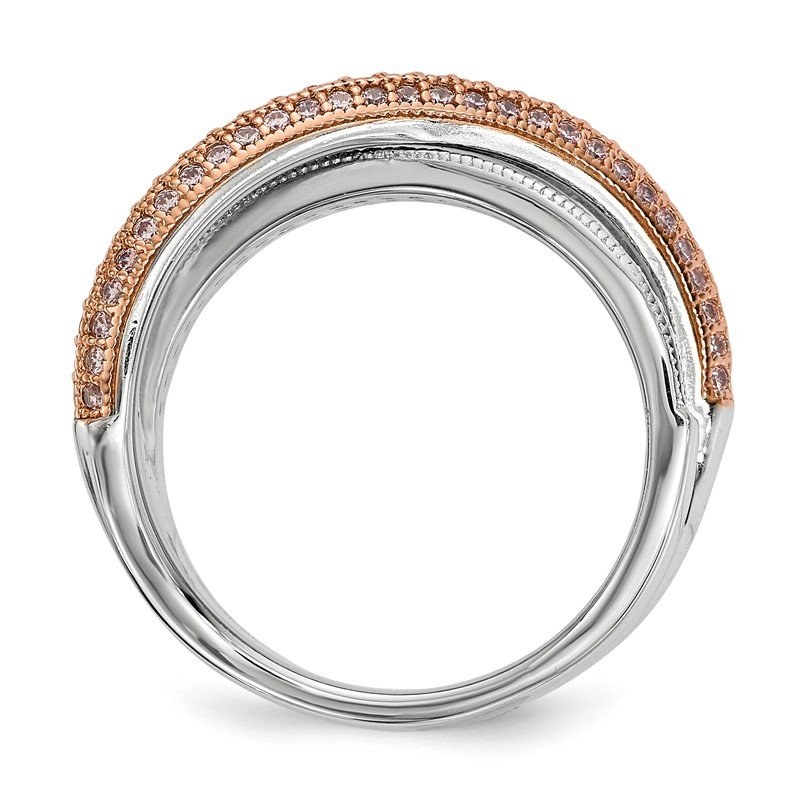 Quality Gold Sterling Silver Brilliant Embers Rose Gold-plated CZ Polished Ring