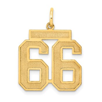 14k Medium Satin Number 66 Charm