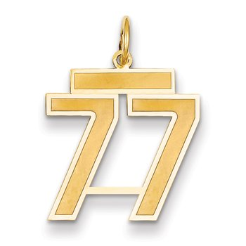 14k Medium Satin Number 77 Charm