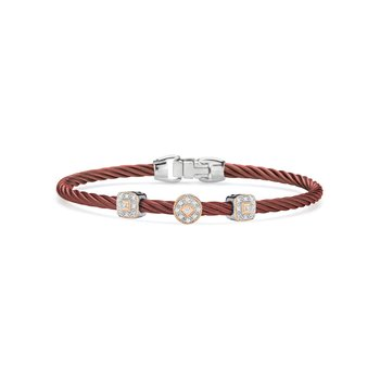 Burgundy Cable Essential Stackable Bracelet with Multiple Diamond station set in 18kt White & Rose Gold