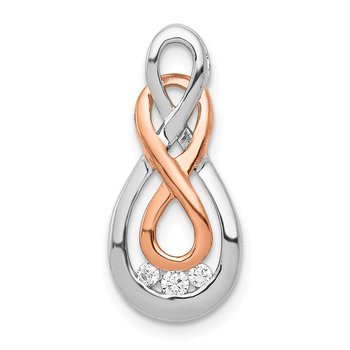 14k White and Rose Gold Diamond Double Infinity Chain Slide