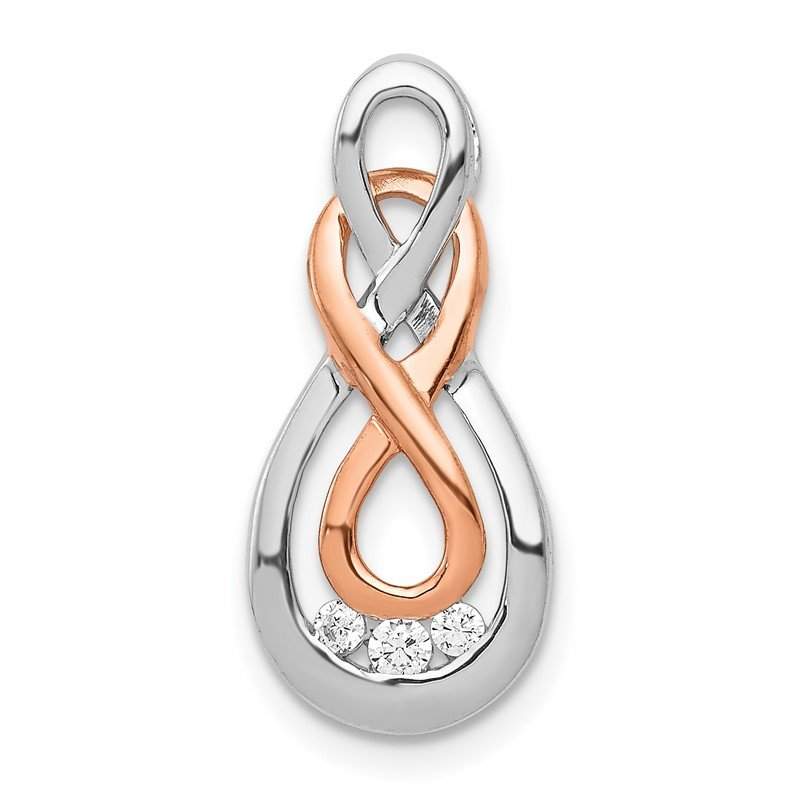 Quality Gold 14k White and Rose Gold Diamond Double Infinity Chain Slide