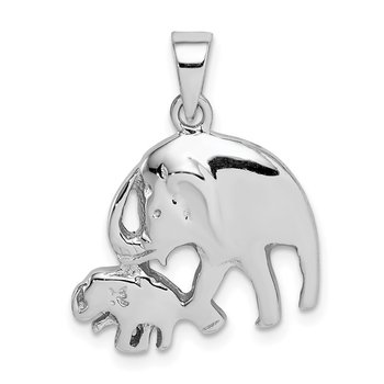 Sterling Silver Rhodium-plated Elephants Pendant